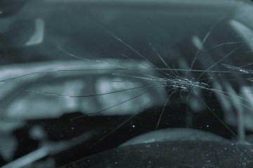 Broken glass on the car