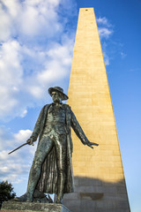 The Bunker Hill Monument in Charlestown, MA, USA.