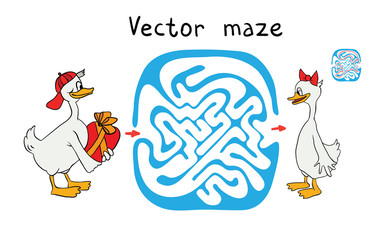 Vector Maze, Labyrinth with Ducks.