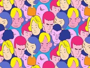 colorful handdrawn style of crowd vector illustration