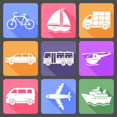 Transportation flat icons with long shadow