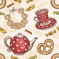 Seamless pattern with tea set. Teapot and cup with baking