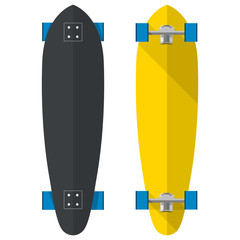 Flat illustration of oval longboards