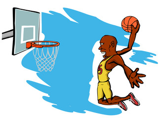 basketball player jumping and scoring