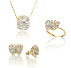 Best jewelry pendant and earrings set. Jewelry composition