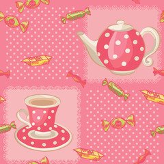 Seamless pattern with tea set. Pink dotted background.