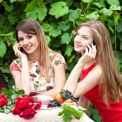 Две красивые девушки разговаривают по телефону