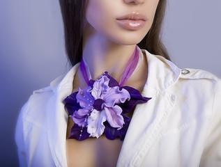 Romantic style: Fashion studio shot of beautiful woman with a fl