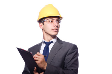 Man wearing hard hat isolated on white