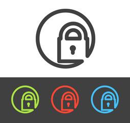 Vector lock icon set, flat line design