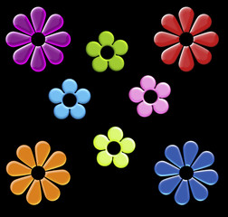 rainbow cartoon flower clip art on black