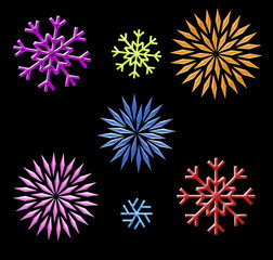 rainbow snowflakes clip art on black
