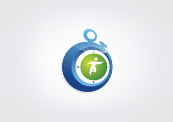 sport time logo, abstract working stopwatch design