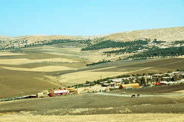 Hilly landscape in Morocco, the settlement