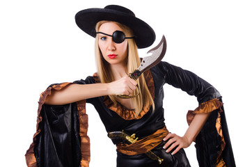 Woman in pirate costume isolated on white