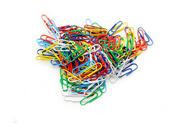 A Pile of Colorful Paper Clips on White