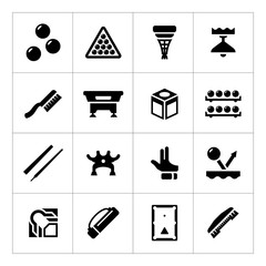 Set icons of billiards, snooker and pool