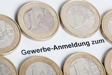 Sign commercial with euro coins.