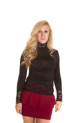 woman top black and red skirt