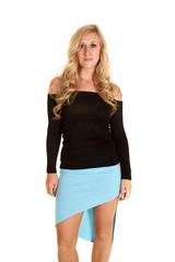 woman top black blue skirt
