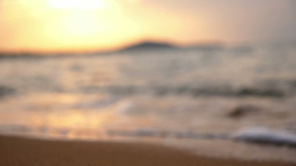 Sea Waves Crashing over the Beach. Slow Motion. Blurred Focus.