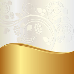 gold and pearl background with floral ornaments