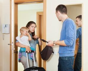 Sadness woman leaving from husband