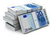 Stacks of 20 Euro banknotes