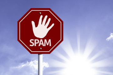 Stop Spam red sign with sun background
