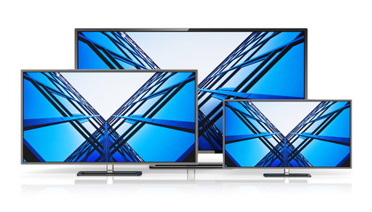 Set of widescreen TV displays