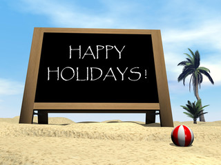 Happy holidays at the beach - 3D render