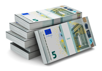 Stacks of 5 Euro banknotes