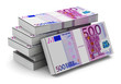 Stacks of 500 Euro banknotes