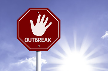 Stop Outbreak red sign with sun background