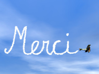 Merci, french thank you message, from biplan smoke - 3D render