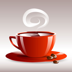 vector illustration of a red cup of hot coffee grain pairs