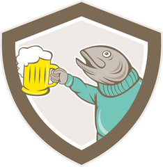 Trout Fish Holding Beer Mug Shield Cartoon