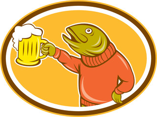 Trout Fish Holding Beer Mug Oval Cartoon