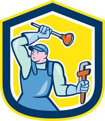 Plumber Wielding Plunger Wrench Shield Cartoon