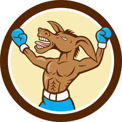 Donkey Boxing Celebrate Circle Cartoon