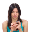 woman reading typing texting sending SMS text message mobile