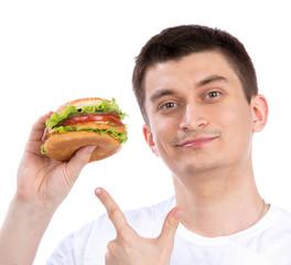 Happy man with tasty fast food unhealthy burger sandwich