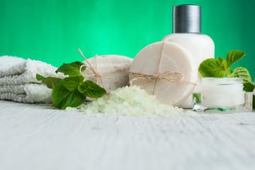 Spa wellness setting natural soap