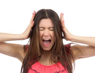 Woman upset screaming or yelling