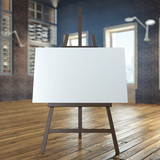 easel with empty canvas in interior