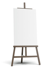 Dark easel with empty canvas