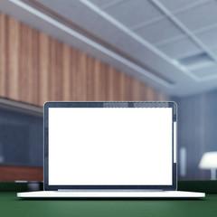 Laptop  on the billiard table