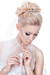 Wedding hairstyle with tiara.