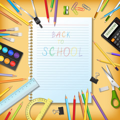 Back to school background with supplies tool