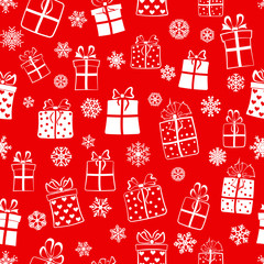 Seamless pattern of gift boxes, white on red